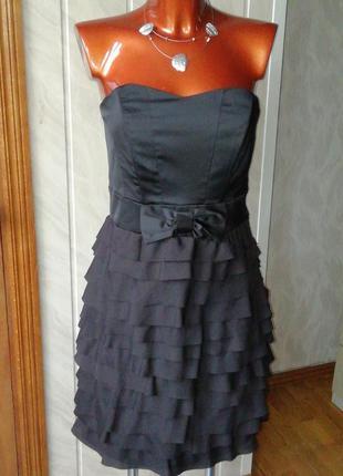 Нарядное платье-бандо, шелк, атлас