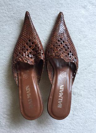 Винтажные сабо босоножки balmain из натуральной плетеной кожи