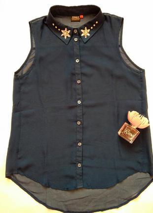 Полупрозрачная шифоновая блузка рубашка без рукавов от only р.м c красивым воротником