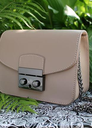870c529da43d Итальянская кожаная мини сумка бежевого цвета, vera pelle (италия ...