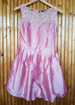 Шикарное нарядное вечернее выпускное платье vivat с кружевом и бантом на спинке.