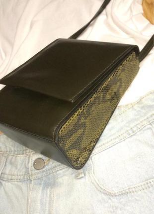 Фирменная кожаная сумка под кожу рептилии dona v(portugal),сумочка кросс-боди+подарок