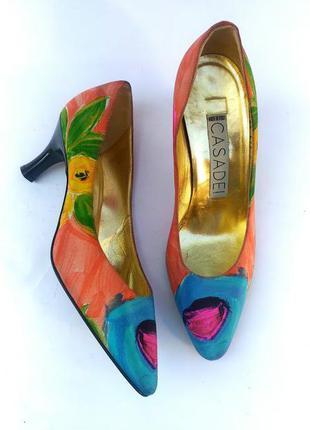 Casadei шикарные статусные туфли оригинал, цветочный принт, шелк