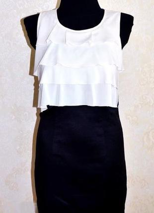 Нарядное черно-белое платье с оборками vero moda р.m