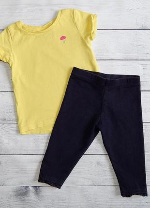 Костюмчик next, для девочки  3-6 месяцев. бриджи-лосины черные next/футболка желтая next