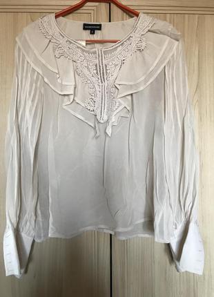 Новая шикарная кремовая блуза с вышивкой 100% шелк бохо-стиль warehouse