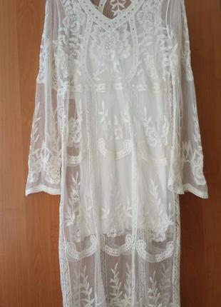 Біле ажурне плаття /ажурне