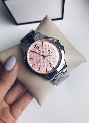 Часы серебро розовый циферблат тн