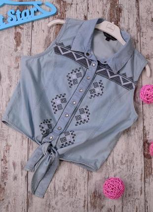 Джинсовая рубашка с вышивкой candy