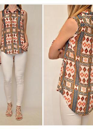 Шифоновая блуза рубашка сзади длинее