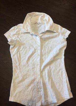 Классическая белая рубашка из прошвы