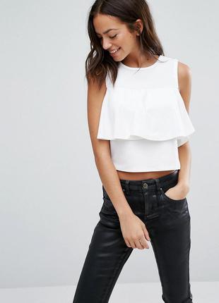 Черная неопреновая блуза топ с воланом