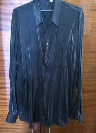 Рубашка  мужская черная,с блеском.