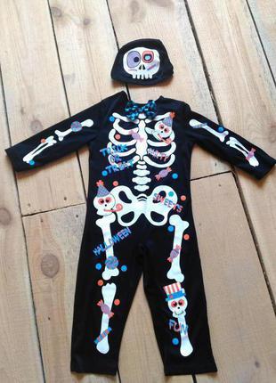 Карнавальный костюм скелет скелетик 1,5 2 года на хэллоуин