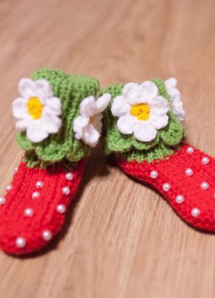 Тапочки носочки пинетки клубнички