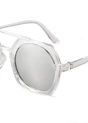 Большие солнцезащитные очки прозрачная оправа линзы зеркальные серебристый металлик