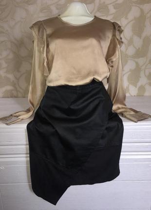 Стильная юбка кож.зам на запах boohoo night
