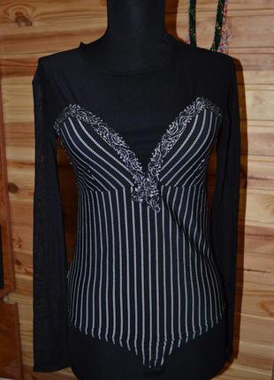 Блуза-боди в полоску! вискоза+нейлон!