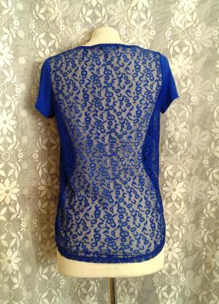 Синяя блузочка с гипюровой спинкой, м