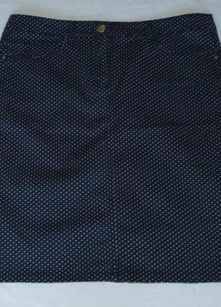 """C&a юбка тёмно-синяя в """"горошек"""" прямая со шлицей 98% хлопок; 2% эластан раз. eur 42"""