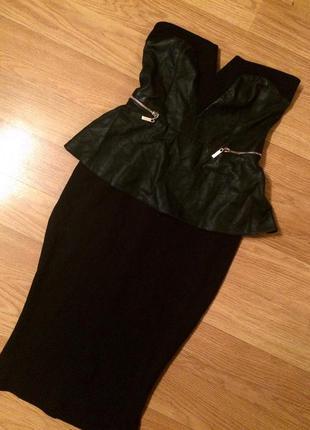 Идеальное платье бюстье с кожаной баской😍 xs-s