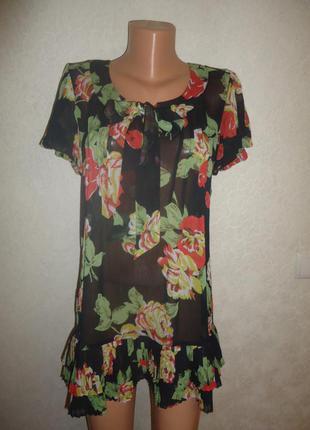Шифоновая туника - платье next  цветы, плиссе