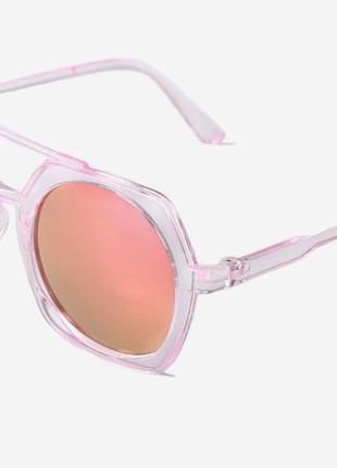 Большие солнцезащитные очки прозрачно-розовая оправа линзы зеркальные хамелеоны