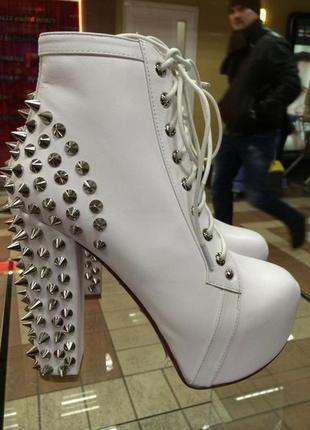 Ботинки jeffrey campbell белые натуральная кожа 39р jeffrey campbell