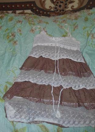 Легкое летнее платье, коричневого цвета с завязками
