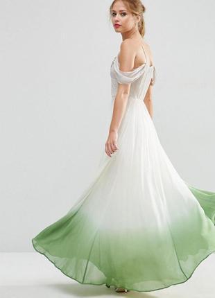 Роскошное платье макси с драпировками и эффектом деграде asos salon
