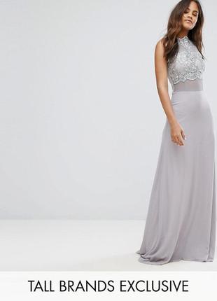 Эксклюзивное вечернее праздничное платье макси с кружевным топом club l tall