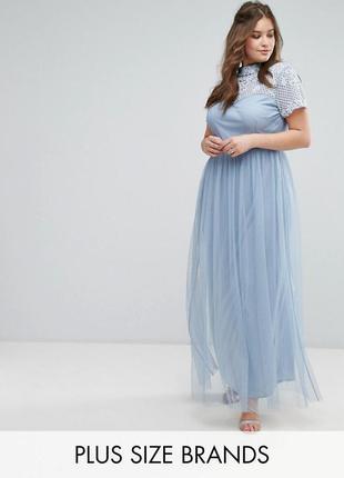 Эксклюзивное платье расшитое бисером с фатиновой юбкой love drobe lux