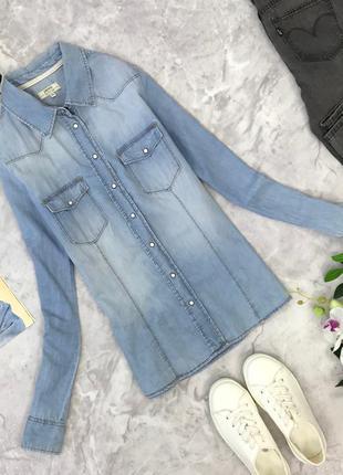 Джинсовая рубашка из голубого тонкого денима  bl1823025 papaya