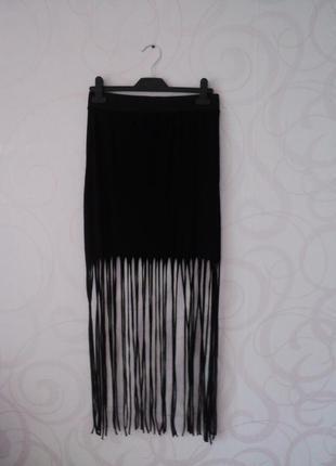 Юбка с бахромой, черная юбка-макси, длинная юбка с бахромой, ретро, винтаж