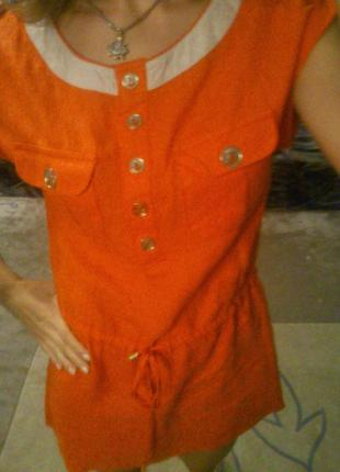 Легкое платье-туника vdp, 100%лен, коралл р.s-l