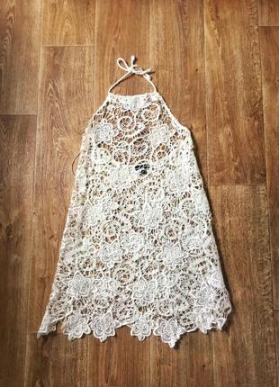 Пляжное платье из французского кружева s-m