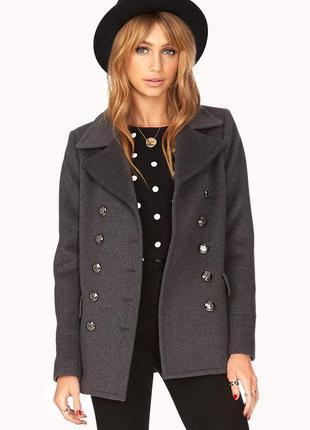 Серое шерстяное пальто на пуговицах на осень forever 21