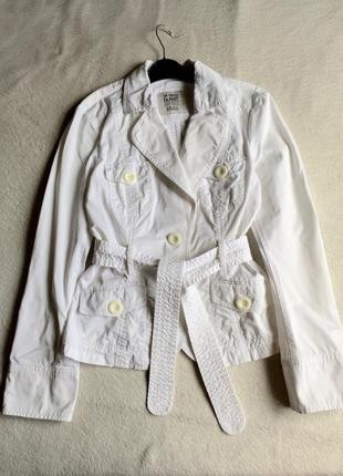 Белоснежный летний жакет пиджак куртка из котона