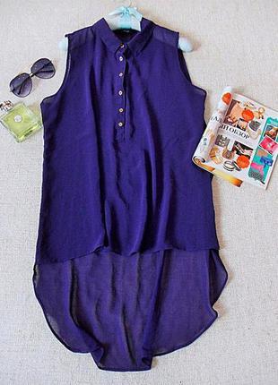 Блуза без рукавов шифоновая ассиметрия бренд f&f