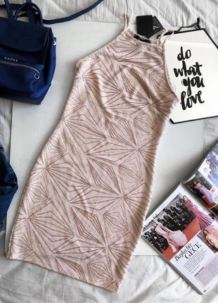 Платье с узором и блестками мини нарядное