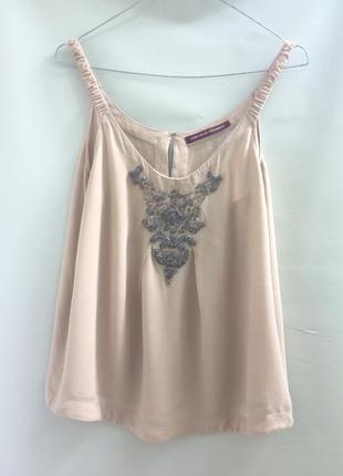 Нюдовый шёлковый топ с вышивкой бисером, nude 100% silk top