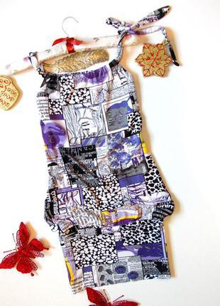 Летний короткий сарафан с принтом платье