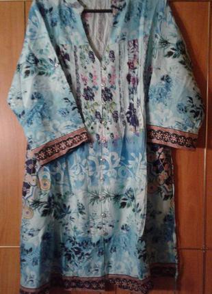 Отличная туника-платье летняя  хлопок indiano, р.хл/2хл,укр.52.