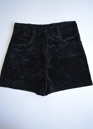 Черные велюровые шорты высокая посадка