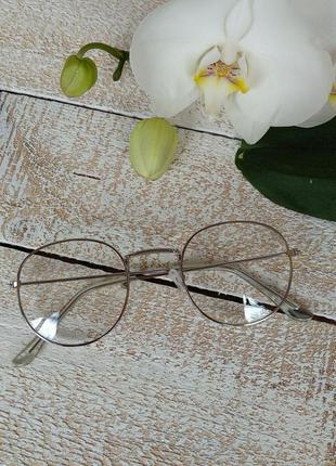 Имиджевые очки прозрачные стекла супертренд золото серебро нулевки
