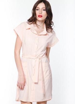 Летнее платье-рубашка цвета пудры размер м-л тм pink