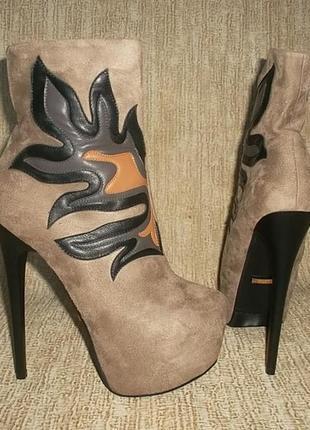 Эксклюзив ботильоны ботинки на шпильке и скрытой платформе