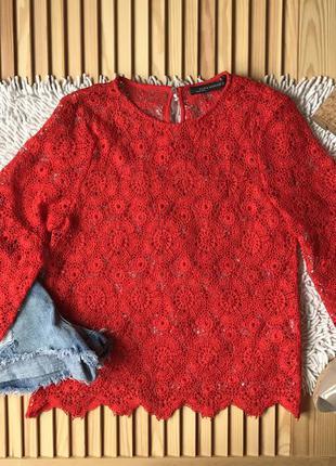 Яркая красная блуза из хлопкового кружева zara, pp xs