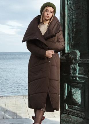 Новый шоколадный/коричневый пуховик-одеяло