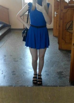 Легкое,летнее,короткое, платье,юбка солнце,синего цвета,электрик